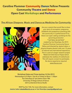 Community Open Cast Workshop for performance  Flier