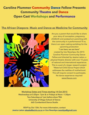 Community Open Cast Workshop for performance  Flier